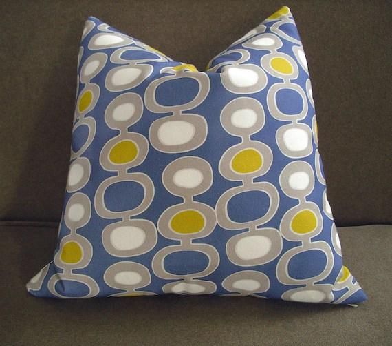 Mid-Century Modern Blue Pillow Cushion Cover 16 x 16
