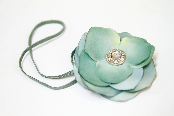 SEASIDE GETAWAY - Hydrangea Flower Headband in Vintage Aqua Blue - flowerbucketboutique