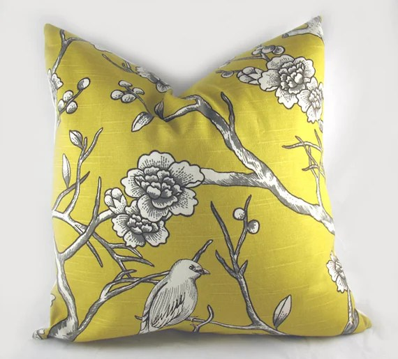 Decorative Pillow Cushion Cover - Accent Pillow - Throw Pillow - Lumbar - Dwell - Vintage Blossom Bird Citrine Yellow White - 18 x 18 Inch