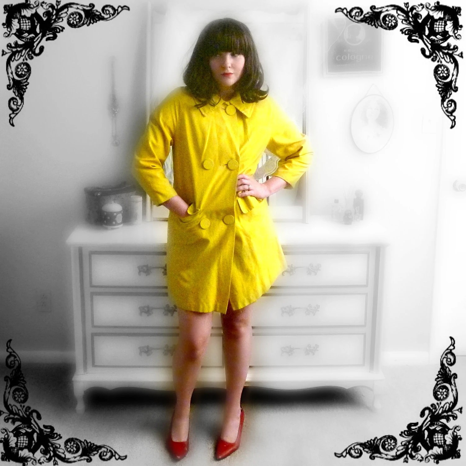 60s Sunny Yellow Mod Raincoat with Small Collar and Big Buttons Size M