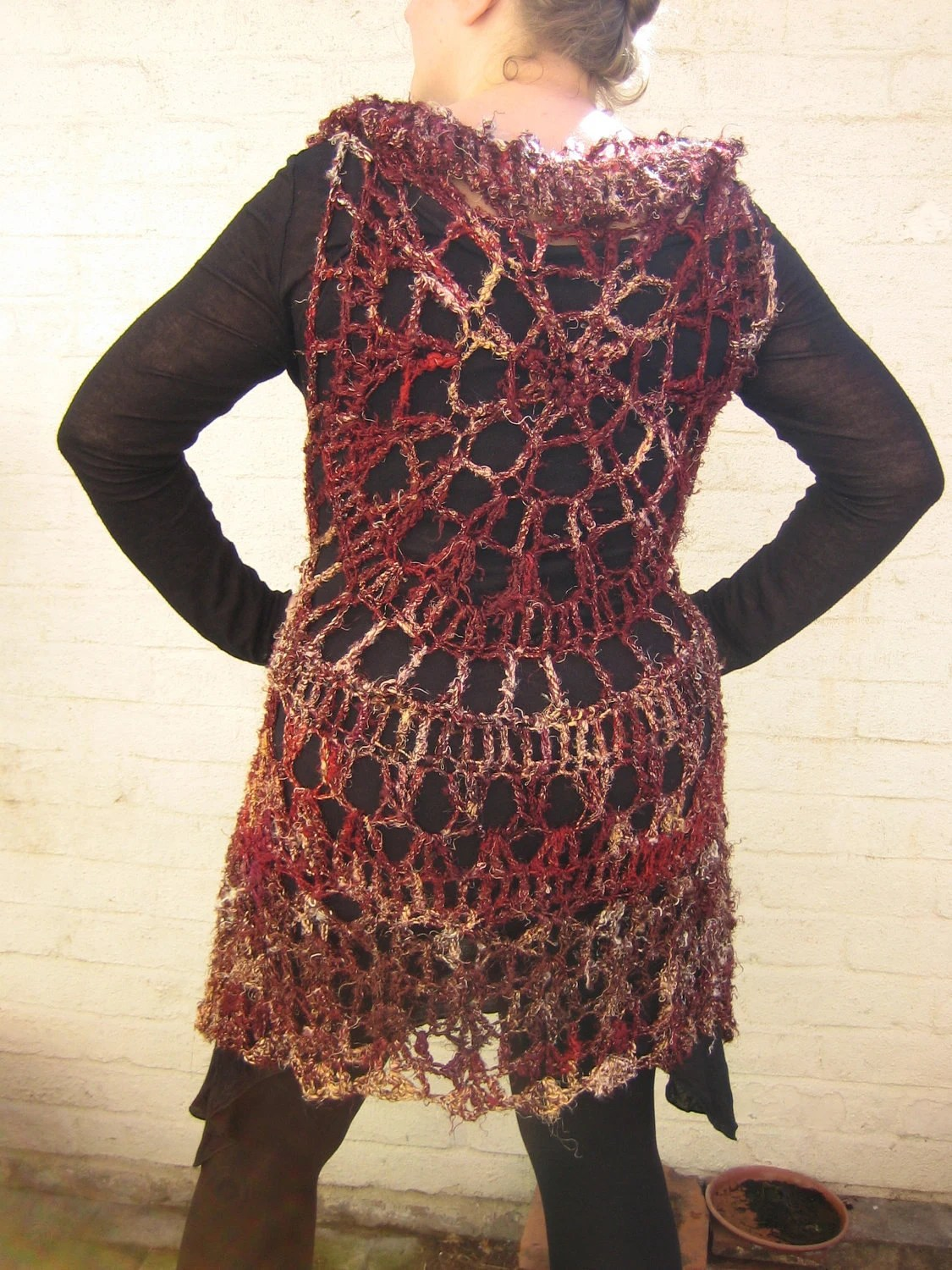 Crocheted vest mandala boho style/ longline sleeveless jacket/ cardigan 'Ripple' One Of A Kind, Pure Silk Wearable Art, Size L