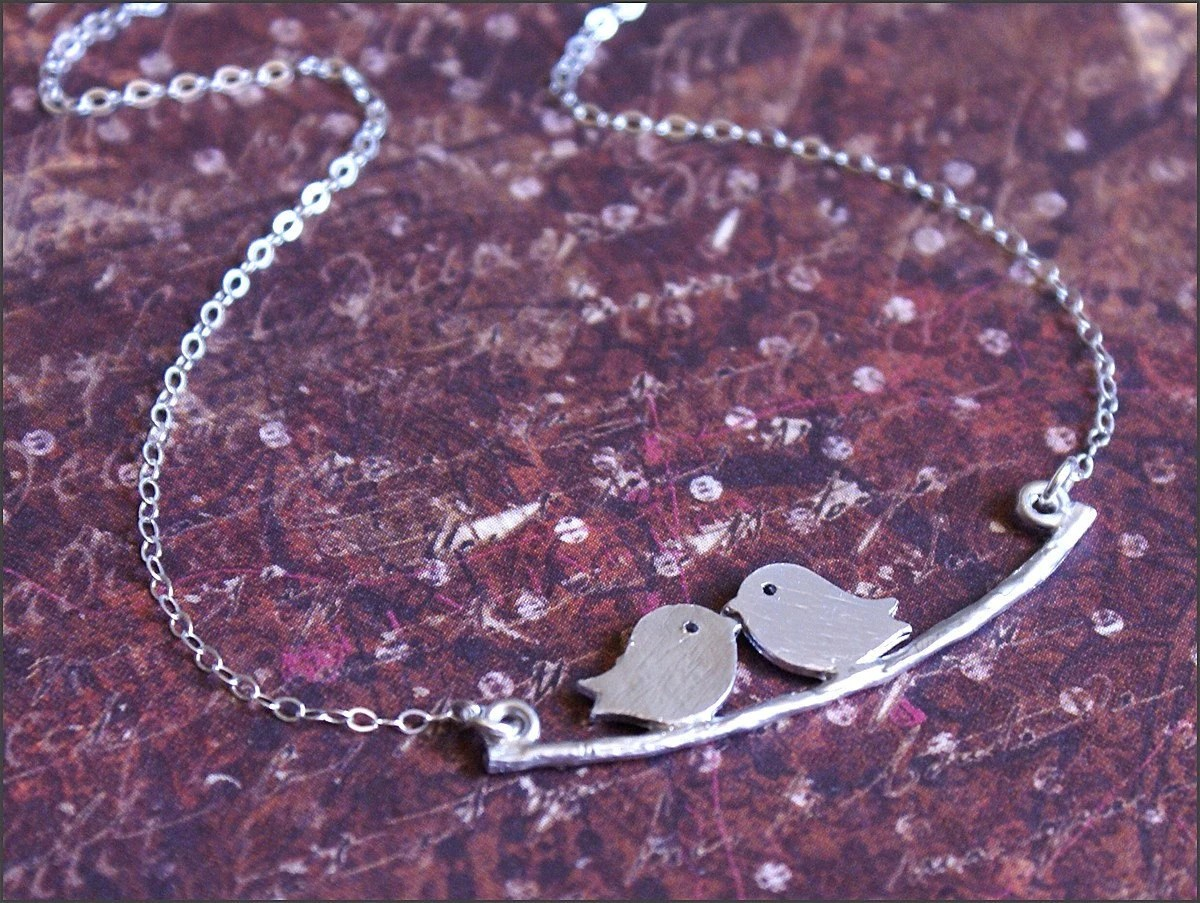 Love Birds Necklace Sterling Silver Chain Kissing Birds on a Branch Pendant Isn't it Romantic by RevelleRoseJewelry