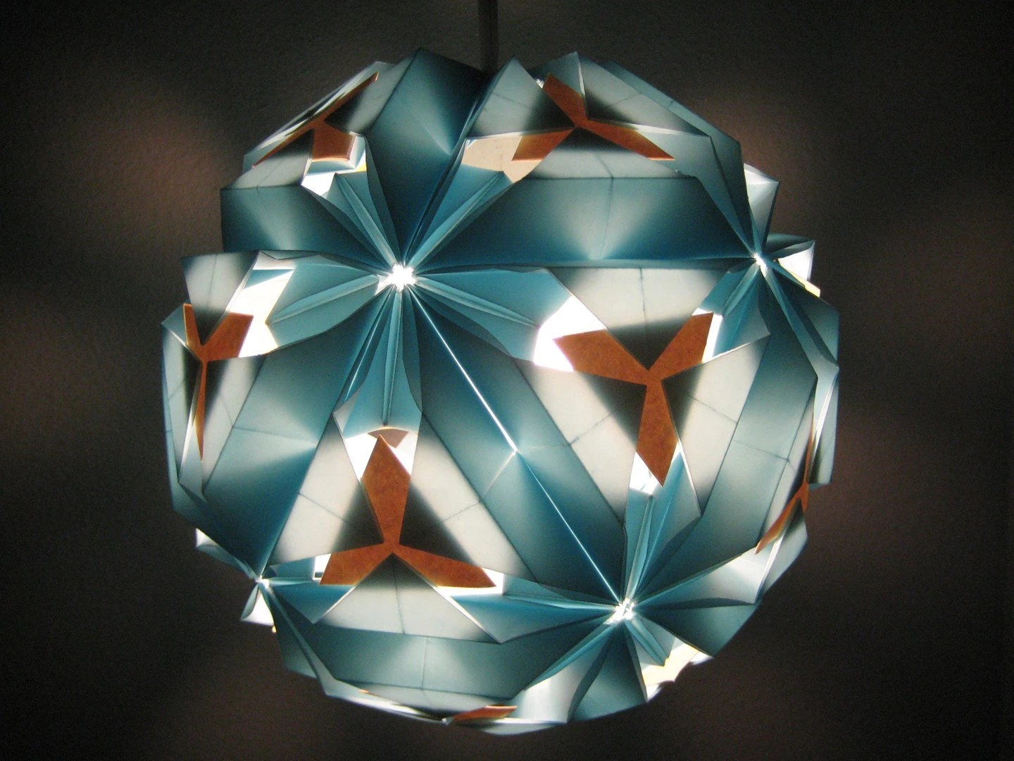 Blue Gold Paper Lamp 10 inches