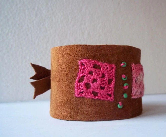 Leather Cuff Wristband Brown Suede Pink Crochet Applique Squares Button Closure