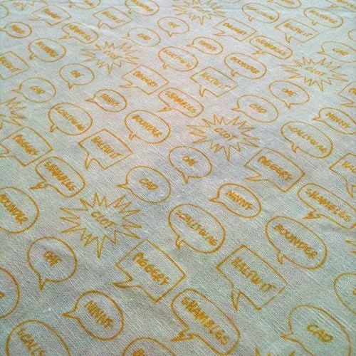 English Insults Fabric - Sarah Waterhouse Hand Printed Textiles