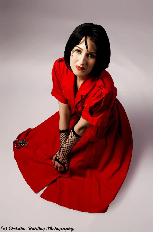 Radiant Red Rockabilly/Punk Vintage 1980s Dress