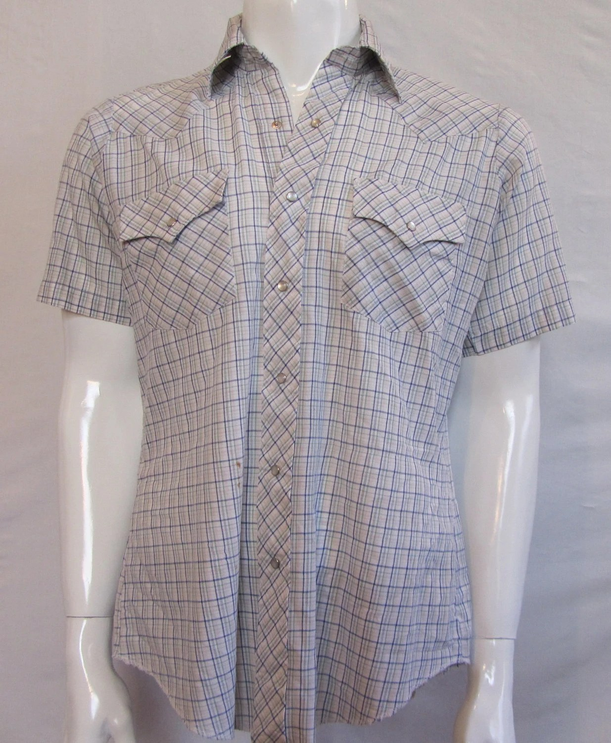 Mens MEDIUM cowboy shirt, Champion Westerns, vintage, short sleeves, white with navy and green plaid, pearl snaps