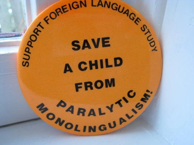 Vintage 80s pinback button badge / Save a Child by PalabrasdeMaria