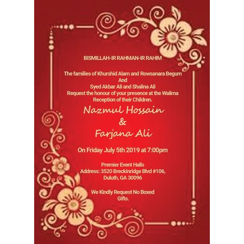 paper flower invitation card