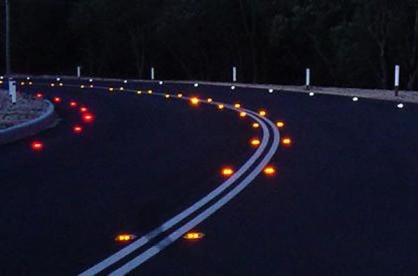 Image result for roadside reflectors at night