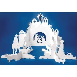 Ted Naos Paper Nativity Scene Christmas Card
