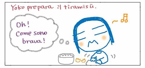 Yoko prepara il tiramisu'. Oh! Come sono brava!