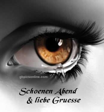 Schoenen Abend und liebe Gruesse sw Bild Auge mit brauner Iris Grusskarte von GB Pics