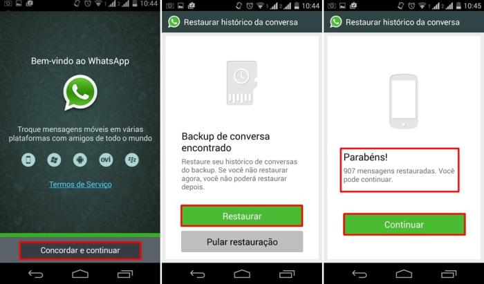 Reinstalando whatsapp para restaurar conversas