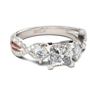 Jeulia Three Stone Princess Cut Sterling Silver Ring