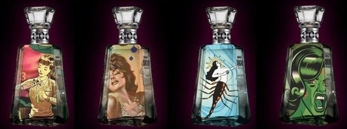 Арт дизайн на бутылке 1800 Tequila