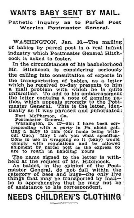 В ХХ веке в США детей отправляли по почте