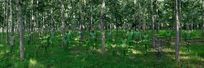 Ловкий азиат Лю Болин прячется от властей на своих же картинах