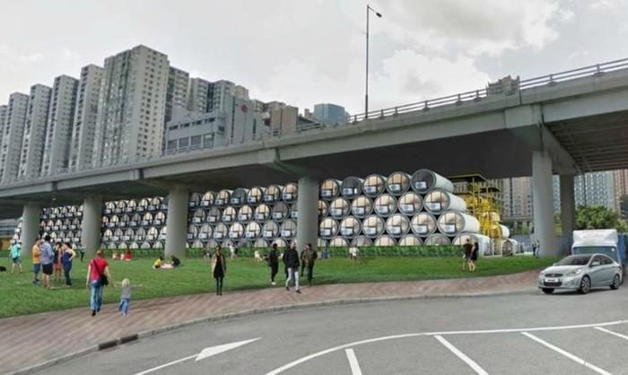 В Гонконге теперь делают дома из бетонных водопроводных труб