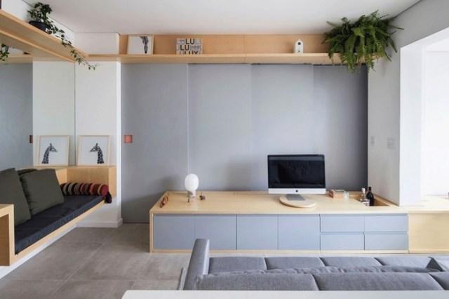 Просторный интерьер квартиры площадью 38 квадратных метров в Сан Паулу