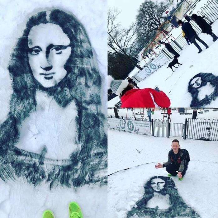 Картины на снегу английского художника Натана Уайберна
