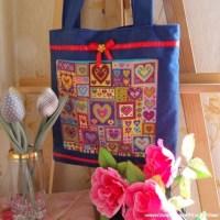 Шьем сумку с вышивкой сердечками