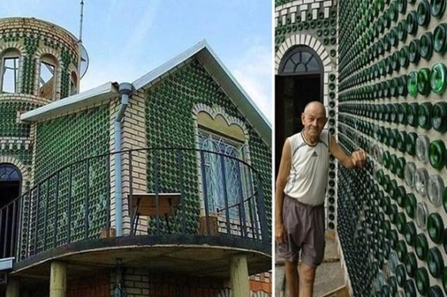 Украинский умелец построил на даче дворец из пустых бутылок из под шампанского