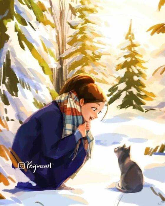 Пэйцзинь Ян   Душевные иллюстрации про дружбу людей и домашних питомцев