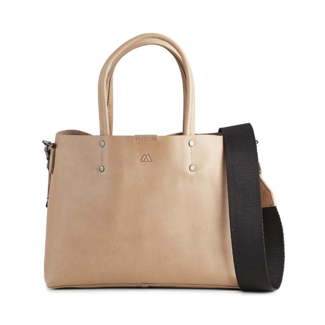 【MARKBERG】Ruth 丹麥手工牛皮個性寬帶小托特包 肩揹包 手提包(米駝色)