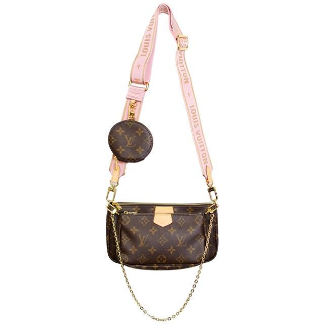 【Louis Vuitton 路易威登】Vuitton Multi Pochette Accessoires混合式斜背袋(粉棕)