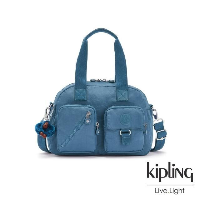 【KIPLING】優雅天穹藍多層實用手提側背包-DEFEA