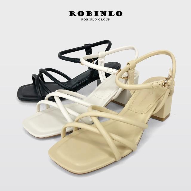 【Robinlo】夏日美型不對稱交叉繞帶方頭高跟涼鞋GABIE(黑/米白/黃色)