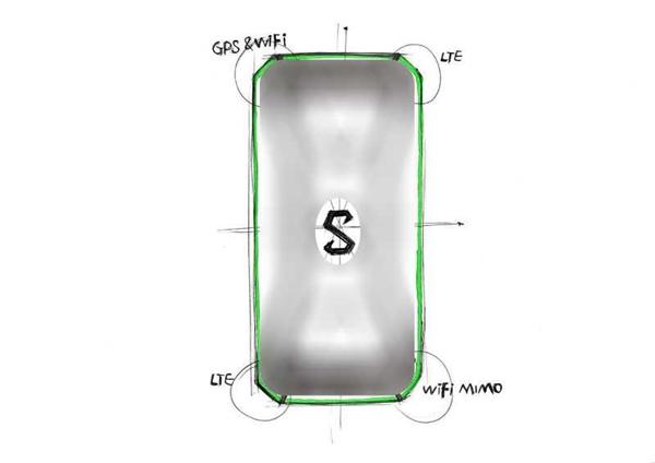 小米投资的黑鲨手机设计草图曝光:首创X形天线