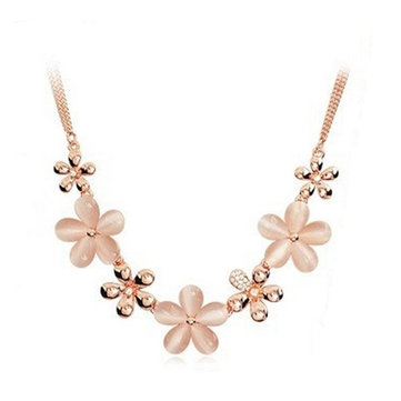 Opal Crystal Pendant Gold Plated Flowers Clavicle Necklace