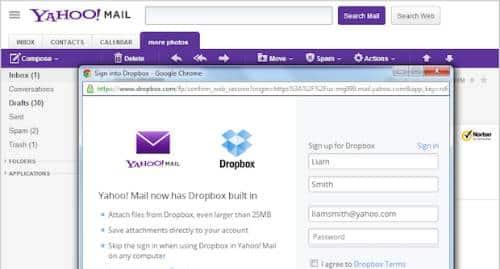 Yahoo! Dropbox
