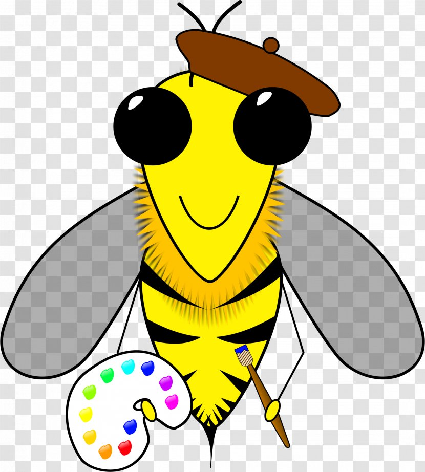 Honey Bee Artist Beehive Clip Art Fly Transparent Png