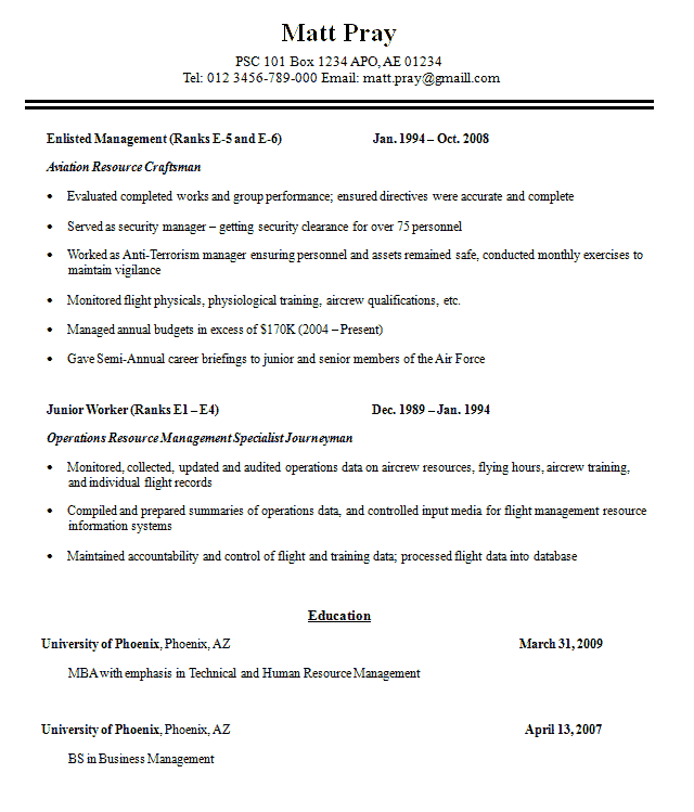 mar 2012 veteran federal resume monsters resume army airforce or