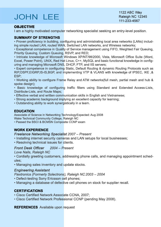 Sample Resume Profile Examples. Statements With Strategy And