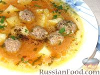 Фото к рецепту: Томатный суп с фрикадельками