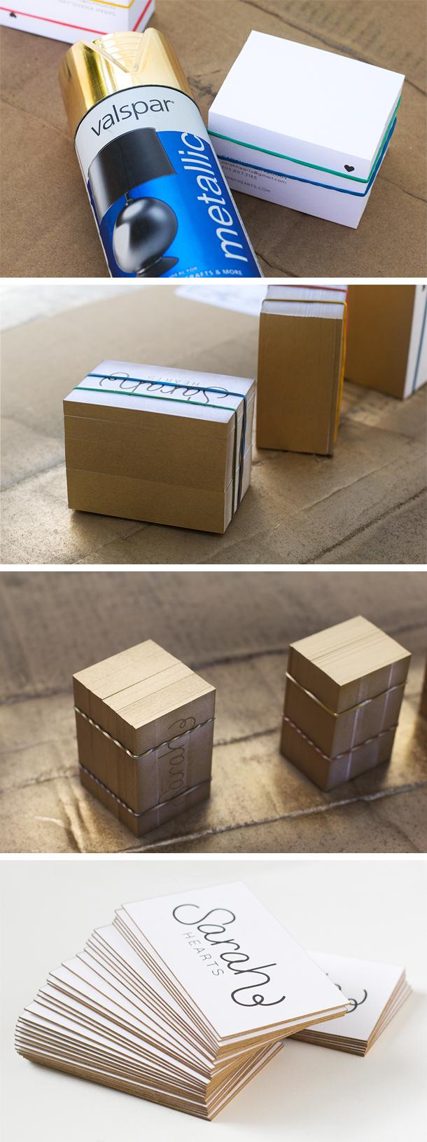 DIY Gold Edge Business Cards | Sarah Hearts