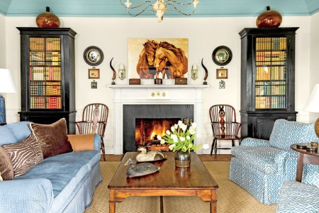106 Living Room Decorating Ideas   Southern Living Blue and White Living Room