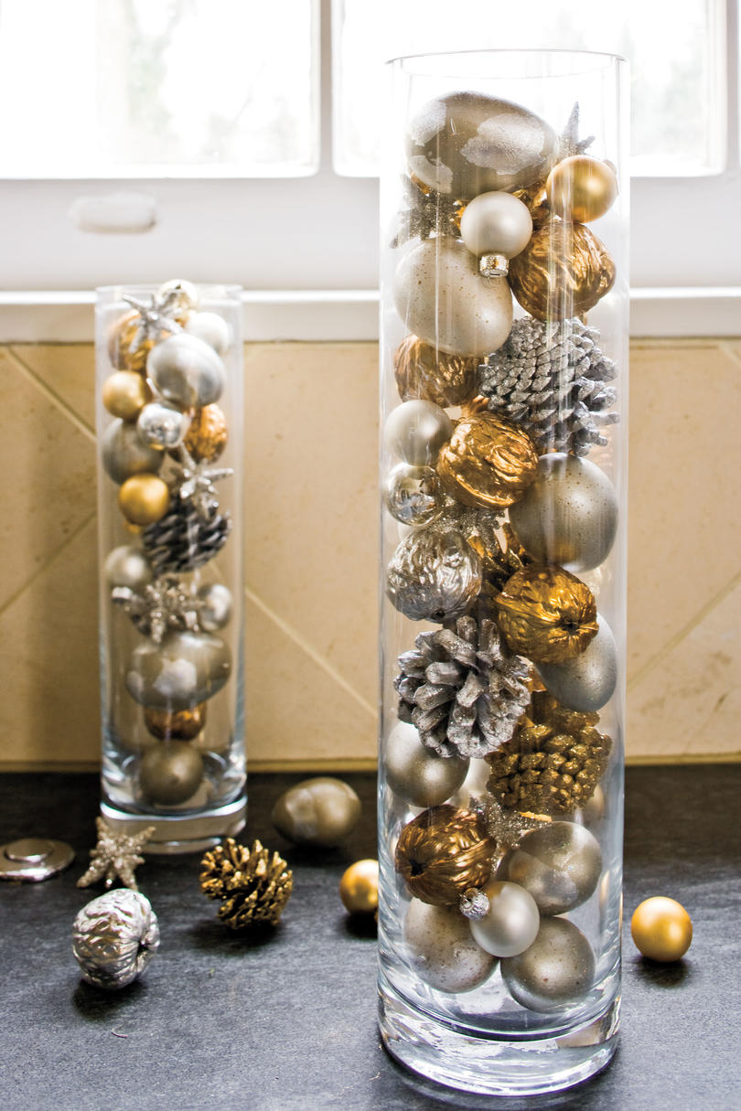 100 Fresh Christmas Decorating Ideas   Southern Living Christmas Decorating Ideas  Ornaments in Cylinders