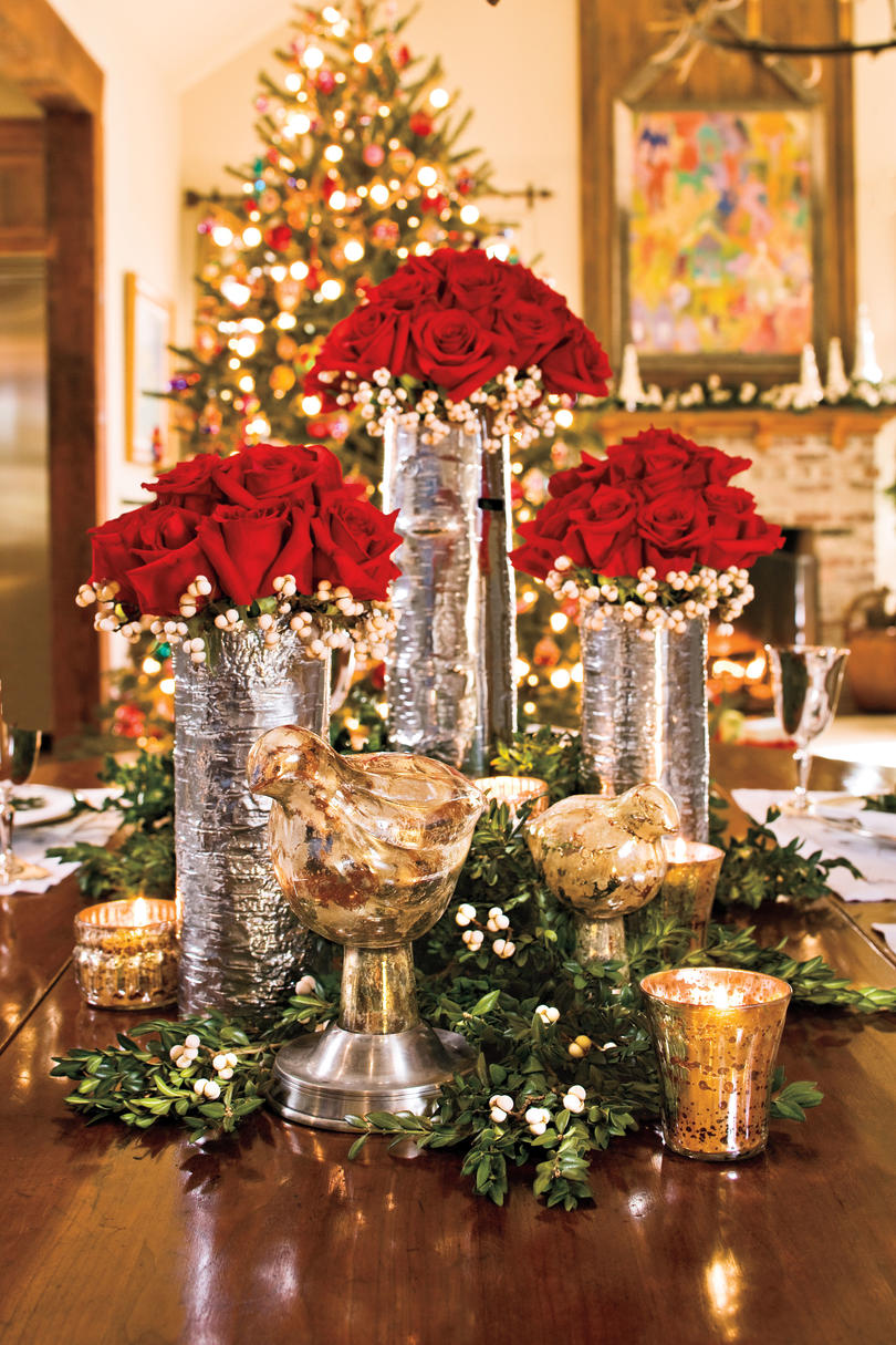 100 Fresh Christmas Decorating Ideas   Southern Living Christmas Decorating  Red Rose Centerpiece
