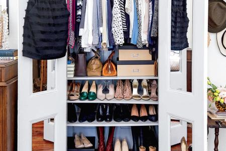 50 Small Space Decorating Tricks   Southern Living Shoe Shelves in Closet