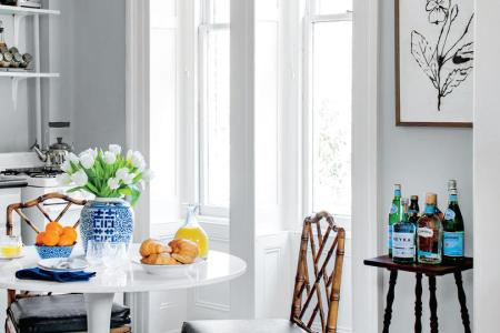 50 Small Space Decorating Tricks   Southern Living Stool Used as Bar Cart