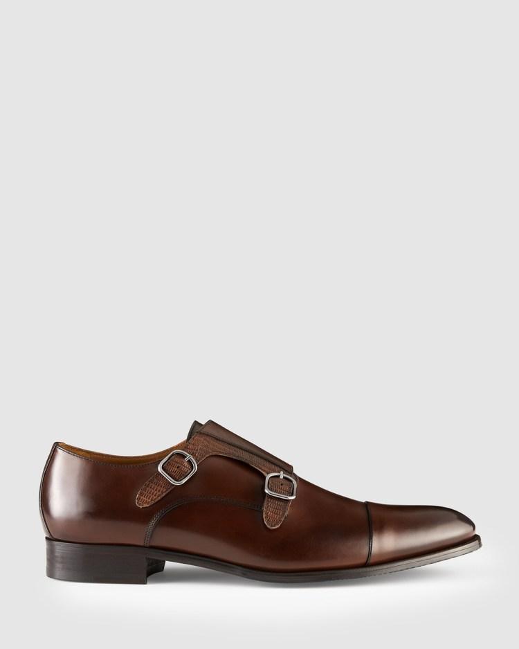 Aquila Defoe Monk Strap Shoes Dress Brandy