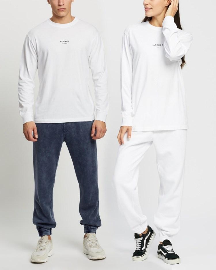Afends Premium Organic Retro Fit Long Sleeve Tee Unisex T-Shirts & Singlets White
