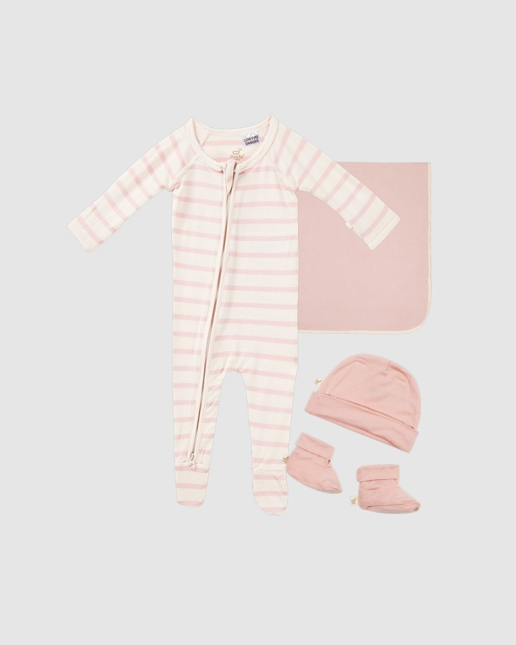Boody Everything You Need Baby Gift Set 3 items Wraps & Blankets Rose/Rose Stripe