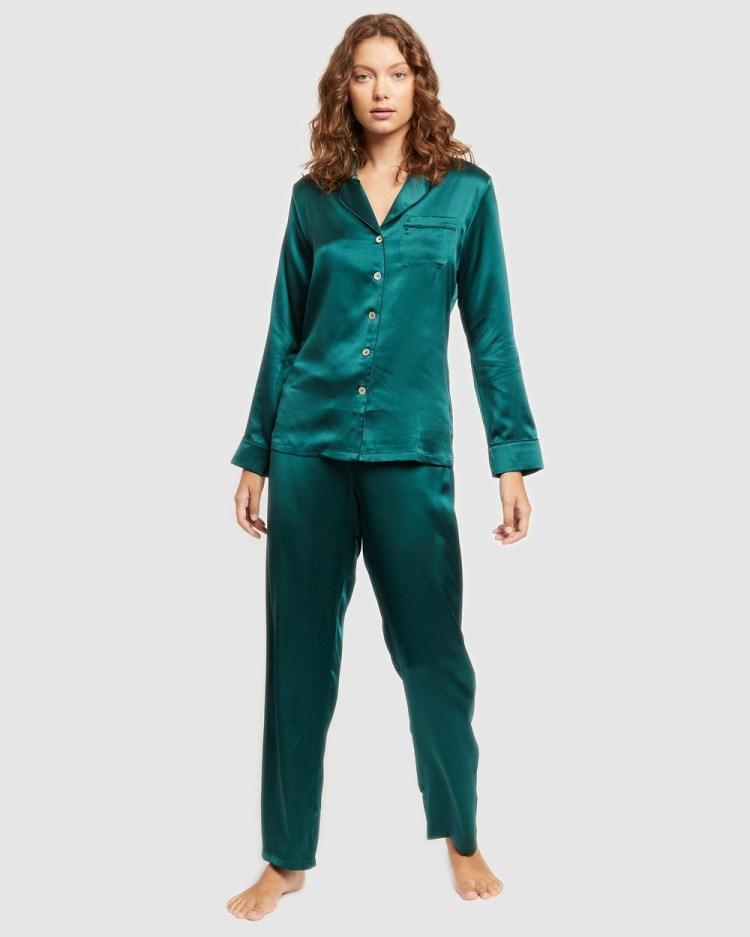 GINIA Fine Finish Silk Pyjamas All gift sets Emerald