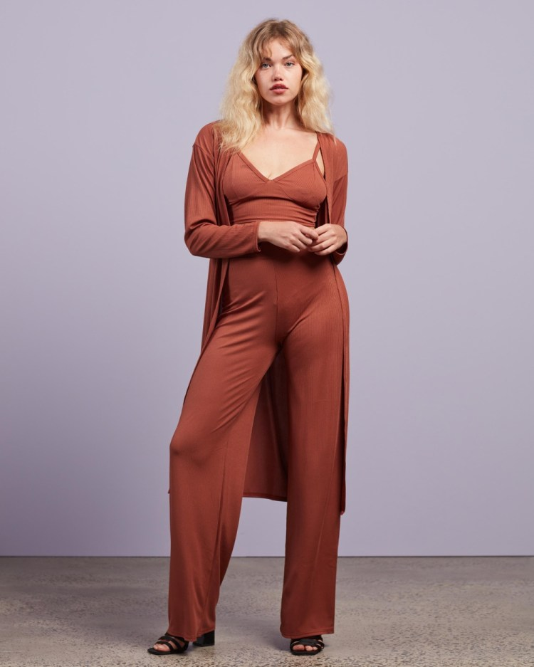 Missguided Rib Cardi Bralette And Trousers 3 Piece Co Ord Set Pants Brown 3-Piece Co-Ord